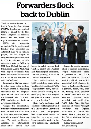FIATA Article FBJ Issue 7 Oct 2015