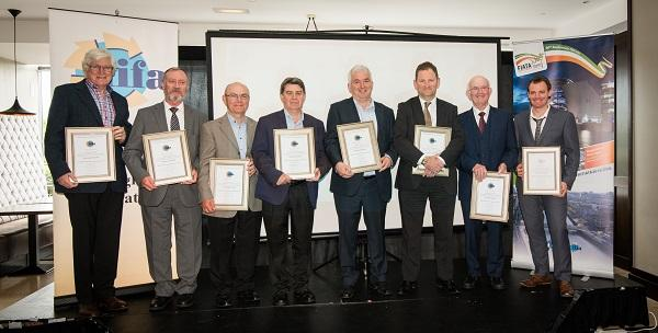 Pictured (L to R): Colm Walsh, Liam Davis, Greg Lewis, John Bermingham, John Dunne, Karl Louwrens,  Paddy Kenny and Seamus Kavanagh.  Absent: William Cress, Noel Good, Sean McCool.
